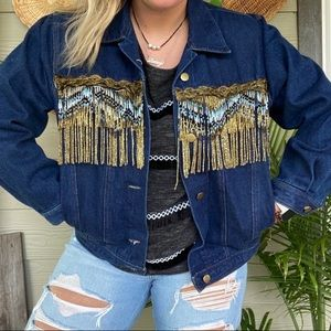 Vintage oversized boho beaded fringe jean jacket